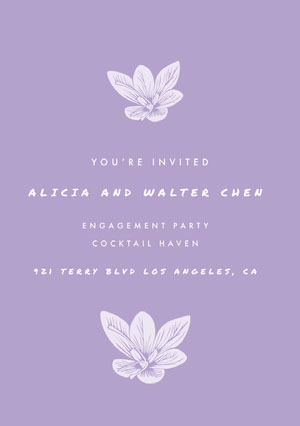 White and Violet Engagement Party Invitation Kihlausilmoitus