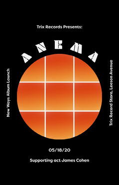 Black and Orange Circle Grid Album Release Concert Poster Launch