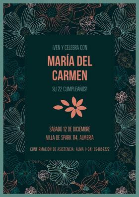 María del Carmen  Invitación de cumpleaños
