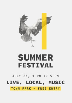 Gray and Yellow Bird Summer Music Festival Poster Live Music Flyer