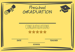 Yellow Preschool Graduation Icons Certificate A4 Graduation Congratulation