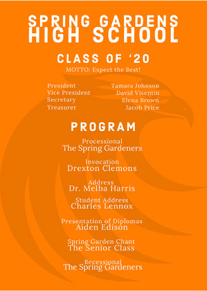 Orange Graduation Program Graduation Card