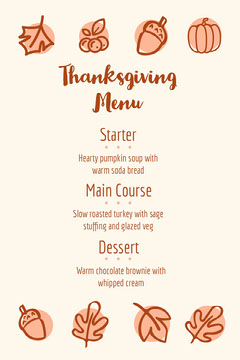 leaves thanksgiving  menu Thanksgiving Menu