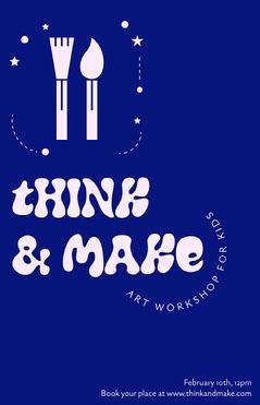 Blue Art Workshop Poster  Workshop