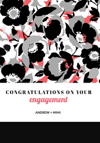 Red and Black Floral Engagement Congratulations Card Parabenização de casamento