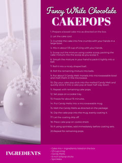Purple Cake Pop Recipe Card Recipes