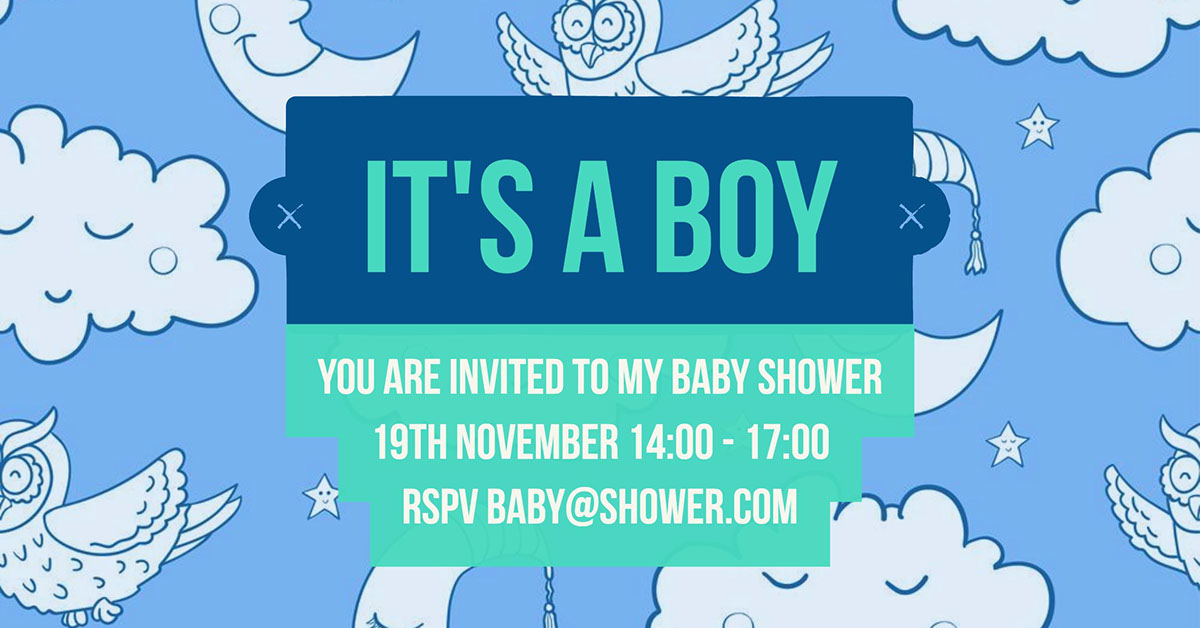 You are invited to my baby shower 19th November 14:00 - 17:00 RSPV baby@shower.com You are invited to my baby shower 19th November 14:00 - 17:00 RSPV baby@shower.com 