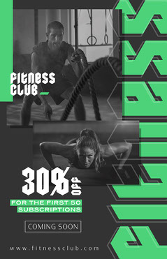 Grey, Green, Dark Toned, Gothic Letters, Fitness Club Ad, Poster Opening Soon