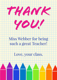Multicolored Crayon Teacher Thank You Card  Thank You Messages
