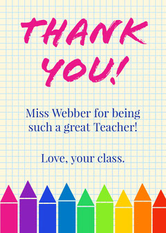 Multicolored Crayon Teacher Thank You Card  Teacher