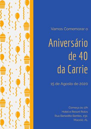 Aniversário <BR>de 40 <BR>da Carrie  Convite de aniversário