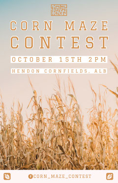 White and Yellow Corn Maze Event Poster Contest