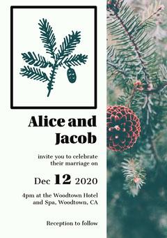 Winter Christmas Tree Wedding Invitation Card  Christmas Invitation