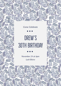 Grey and Striped Pattern Birthday Invitation Einladung zum Geburtstag