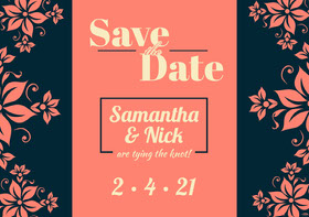 Orange and Black Floral Save the Date Wedding Invitation Card Annonce de mariage