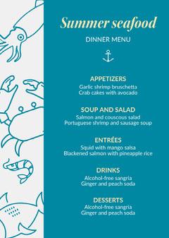 Summer seafood Dinner Menu