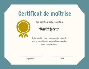 Certificat de maîtrise Certificat
