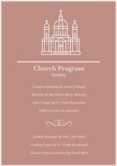 Beige Illustrated Church Program Flyer Christianity