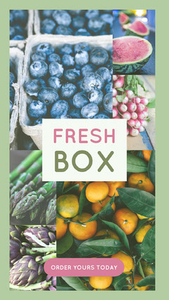 Fresh Fruit and Vegetable Box Ad with Collage Fruit