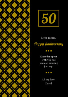 Gold and Black Happy Marriage Anniversary Card with Pattern Couple