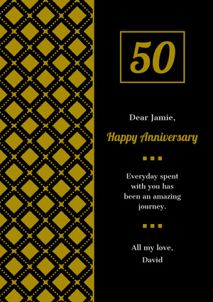Gold and Black Happy Marriage Anniversary Card with Pattern Carte d'anniversaire de mariage