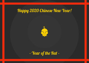 Red and Black Happy 2020 Chinese New Year Card Chinese New Year