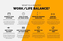 Orange Illustrated Work Life Balance Infographic Infografica