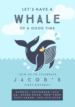 Blue, Light Toned, Funny Pun Birthday Party Invitation Card Fish