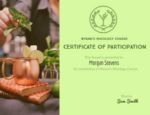 Certificate Of Participation Mixology Course Certificado