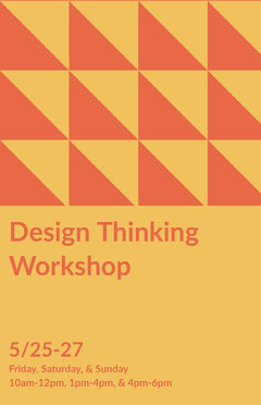 Orange and Yellow Graphic Design Workshop Flyer with Triangle Pattern Designer