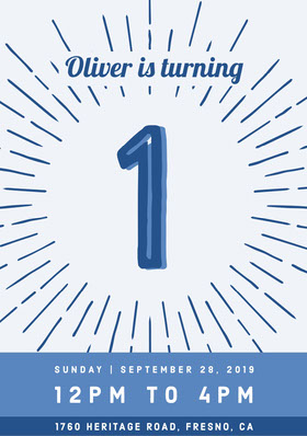 Navy Blue and White Birthday Invitation Birthday Invitation (Boy)
