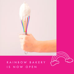 Pink and White Bakery Instagram Graphic Rainbow