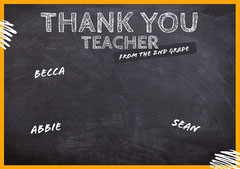 Black Chalkboard Shareable Thank You Card Teacher