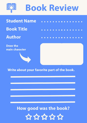Blue and White Book Review Worksheet Book Review