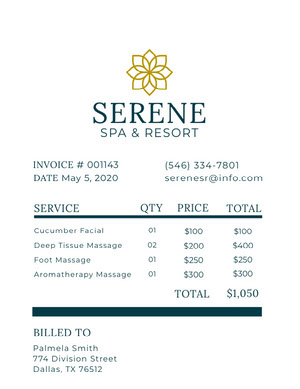 Spa and Massage Salon Invoice 청구서