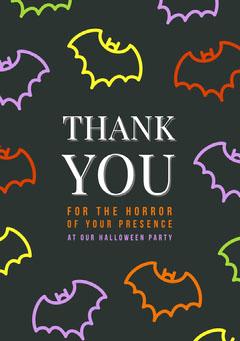 Halloween Bat House Party Thank You Card Halloween Party Thank you Card