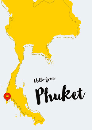 Yellow Map Phuket Thailand Postcard Postal