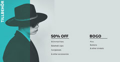 Turquoise Fashion Store Facebook Post Ad with Man in Hat Bogo