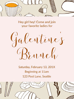 Grey and Pink Galentines Bruch Invitation Brunch