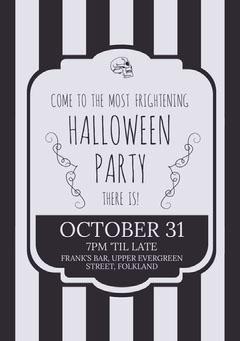 Black White Stripes Halloween Party Invitation Halloween Party Invitation