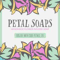 Green & Purple Abstract Flowers Petal Soaps Instagram Square Shopping
