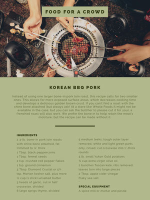 Pale Green Korean Barbecue Pork Recipe Card 食譜卡