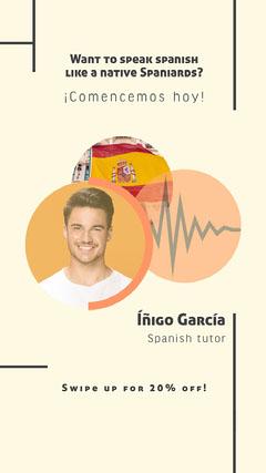 Orange and Yellow Spanish Tutor Instagram Story Tutor Flyer