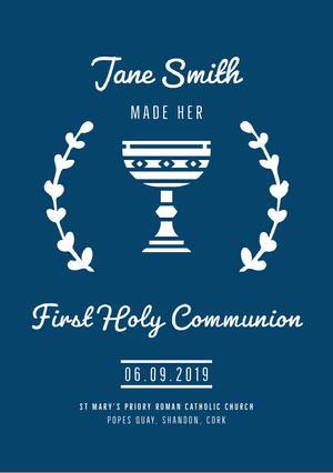 White and Blue Communion Announcement Communion Annoucements