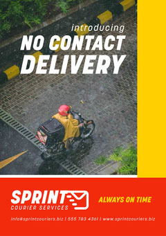 Yellow White and Red No COntact Delivery Flyer A5 Service