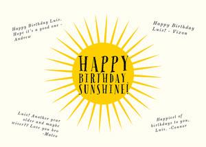 Yellow Sunshine Shareable Group Birthday Card Group Birthday Card