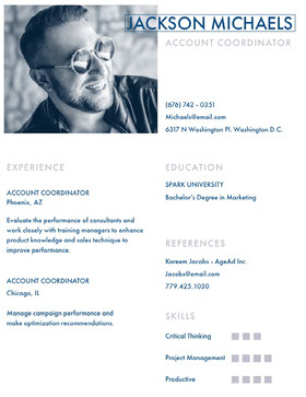 Blue Account Coordinator Resume Curriculum creativo