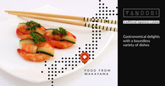 Japanese Restaurant Facebook Ad with Shrimp Meal and Chopsticks Sushi