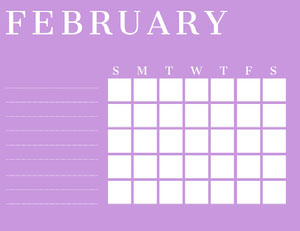 Pink February Calendar with Notes Kalendrar