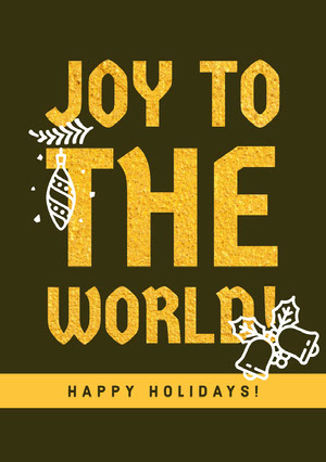 Yellow Happy Holidays Merry Christmas Card Kerstkaart